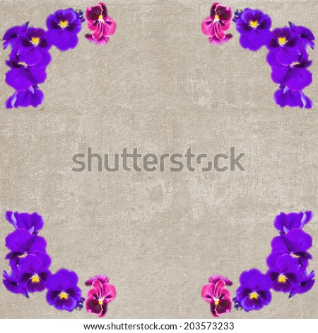 Square vintage textured frame with violet pansy flowers - stock photo