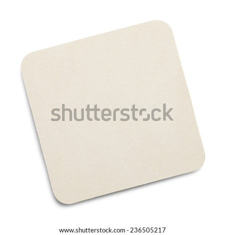 Square White Drink Coaster with Copy Space Isolated on White Background. - stock photo