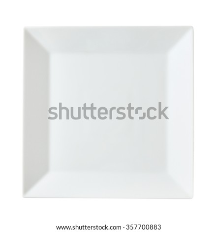 Square white porcelain dinner plate with rim - stock photo