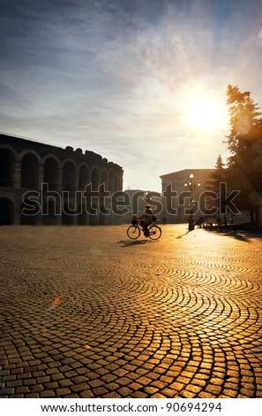 Square with Roman Arena. Verona. Italy - stock photo