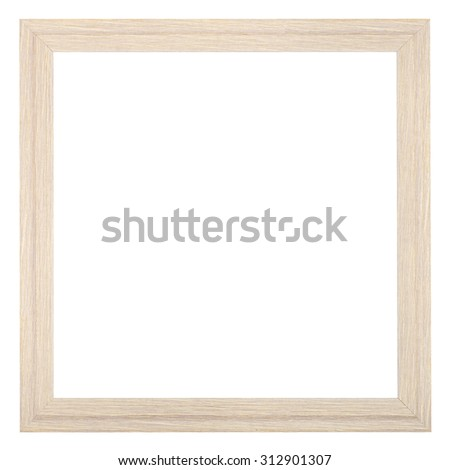 square wooden textured narrow picture frame with cut out blank space isolated on white background - stock photo