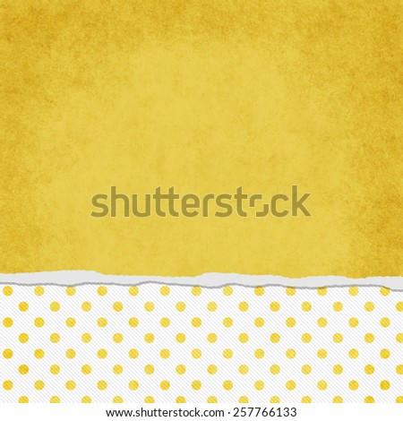 Square Yellow and White Polka Dot Torn Grunge Textured Background with copy space at top - stock photo