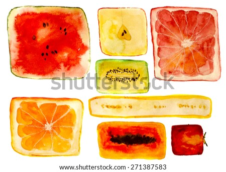 squared fruits: watermelon, orange, apple, kiwi, banana, papaya, strawberry, grapefruit. hand-painted watercolor - stock photo