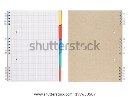 Squared notebook with the colored bookmarks, isolated over the white background, set of two foreshortenings, back and front - stock photo