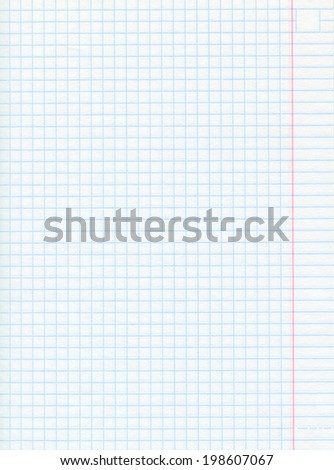 Squared sheet of math paper - close-up - stock photo