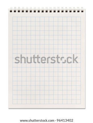 squared spiral notebook, isolated on white, clipping path included - stock photo