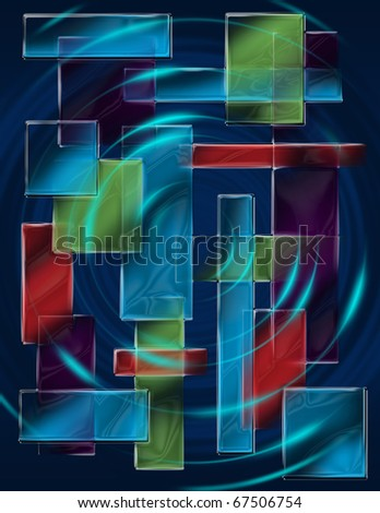 squares colored pattern, abstract art illustration - stock photo