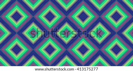 squares of blended stripes of thick paint in shades of blue, green and purple form a seamless pattern - stock photo