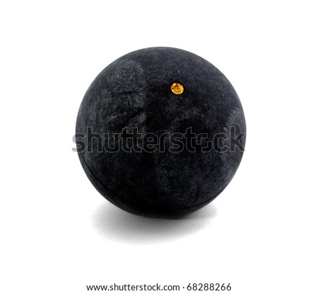 Squash ball with one dot on the white - stock photo