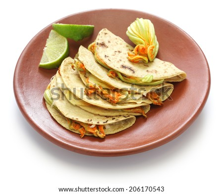 squash blossom quesadillas, Mexican food, quesadillas de flor de calabaza - stock photo