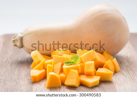 Squash butternut, cut into cubes and ready for cook. - stock photo
