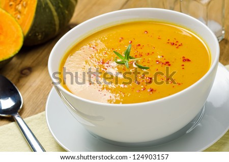 Squash Soup with Rosemary and Paprika - stock photo