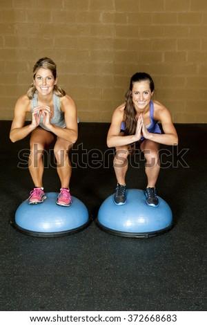 Squat On Bosu Ball - stock photo
