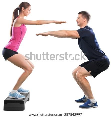 Squats, trainer, bosu. - stock photo