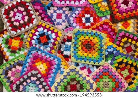 Squattered granny squares, home made - stock photo