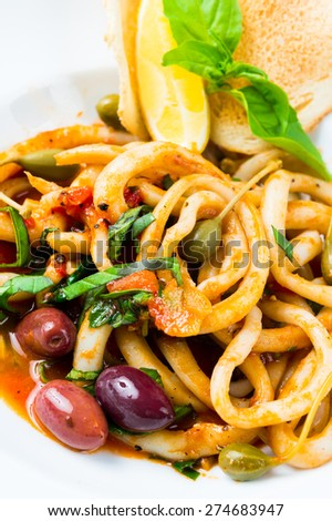 Squid  and mussel  salad  - stock photo