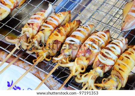 Squid BBQ, seafood - stock photo
