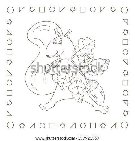 Squirrel. Funny squirrel holding a oak branch with acorn. Coloring page. Coloring book. - stock photo