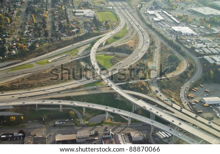SR16 ends at I-5 in Tacoma, WA - aerial view - stock photo