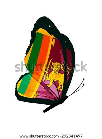 Sri Lanka flag butterfly - stock photo