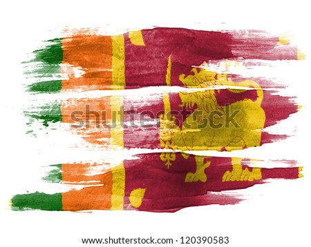 Sri Lanka flag painted on white paper with watercolor - stock photo