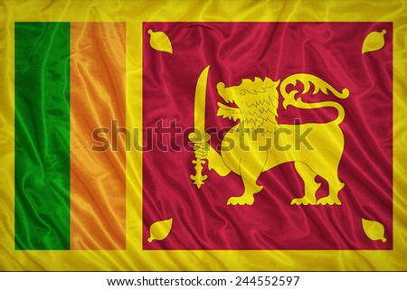 Sri Lanka flag pattern on the fabric texture ,vintage style - stock photo