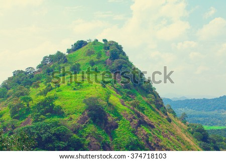Sri Lanka tropical forest and mountains  - stock photo