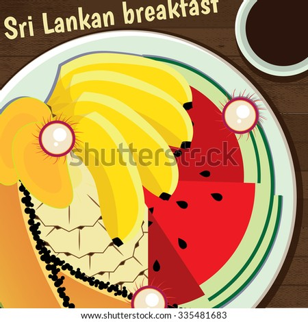 Sri Lankan delicious breakfast of fresh juicy fruits | raster version - stock photo