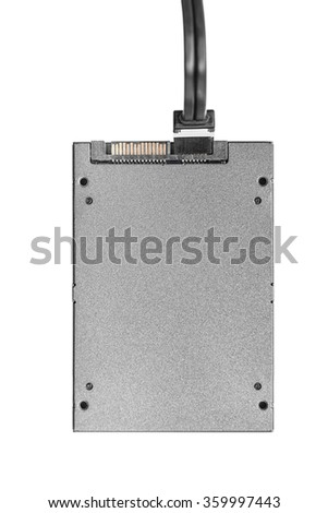 SSD hard drive with cable isolated  isolated on a white background.  Concept of cloud drive, or communications. - stock photo