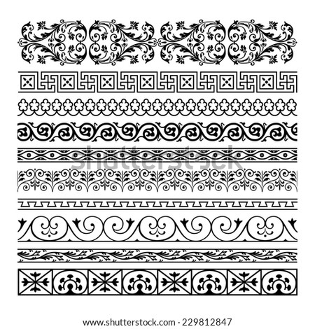Sset vintage ornate border frame with retro ornament pattern in antique baroque style. Arabic decorative calligraphy design high quality - stock photo
