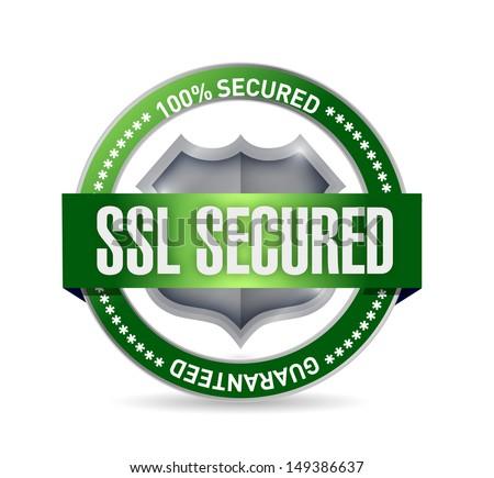 ssl secured seal or shield illustration design over white - stock photo