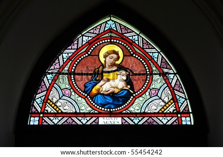 St. Agnes Stained Glass Color - stock photo