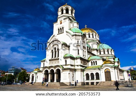 St. Alexander Nevsky Cathedral in Sofia, Bulgaria - stock photo
