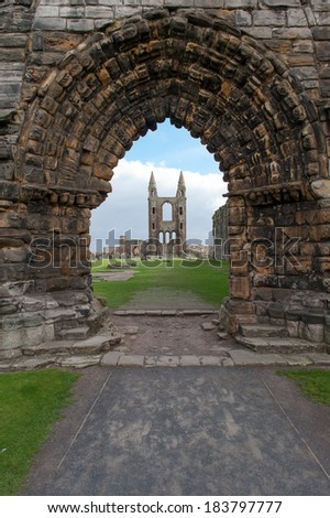 St. Andrews Abbey Archway - stock photo