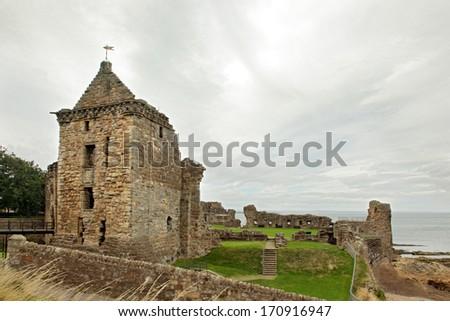 St Andrews Castle Ruins Medieval Landmark. Fife, Scotland - stock photo