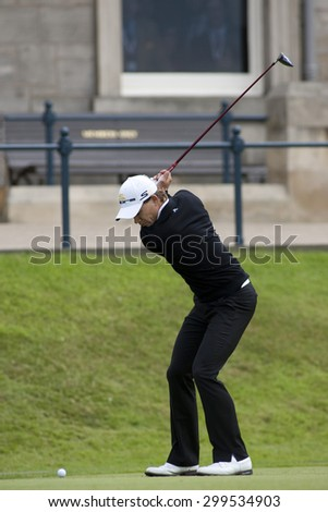 ST ANDREWS, SCOTLAND. July 17 2010: Camilo VILLEGAS from Colombia in action during the third round of The Open Championship   played on The Royal and Ancient Old Course - stock photo