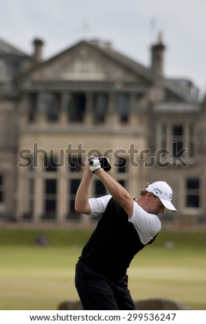 ST ANDREWS, SCOTLAND. July 15 2010: Ernie ELS from South Africa in action on the first day of The Open Championship   played on The Royal and Ancient Old Course - stock photo
