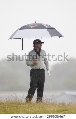 ST ANDREWS, SCOTLAND. July 16 2010: Graeme McDOWELL from Northern Ireland in action on the second day of The Open Championship   played on The Royal and Ancient Old Course - stock photo