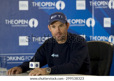 ST ANDREWS, SCOTLAND. July 11 2010: Padraig HARRINGTON (IRL) at his press conference on the preview day of The 150th Open Championship played on The Royal and Ancient Old Course - stock photo