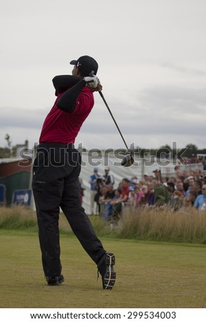 ST ANDREWS, SCOTLAND. July 18 2010: Tiger WOODS from the USA in action during the final round of The Open Championship   played on The Royal and Ancient Old Course.  - stock photo