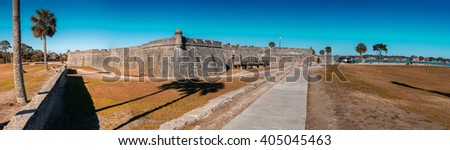 ST AUGUSTINE, FL - JANUARY 7, 2016: City castle with tourists. St Augustine is the oldest american city. - stock photo