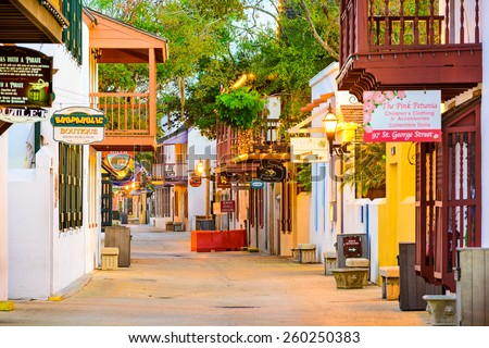 ST. AUGUSTINE, FLORIDA - JANUARY 5, 2015: Shops and inns line St. George. Once the main street, it is still considered the heart of the city. - stock photo
