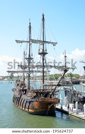 ST. AUGUSTINE, FLORIDA - May 23 2014: El Galeon arrived on January 5, 2014 and is moored at the St. Augustine Municipal Marina. Galleon vessels traveled on the coast of Florida at the 16th century. - stock photo
