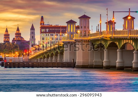 St. Augustine, Florida, USA Skyline at Bridge of Lions. - stock photo