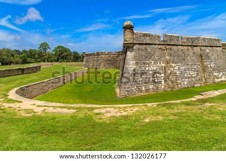 St. Augustine Fort, Castillo de San Marcos National Monument, Florida - stock photo