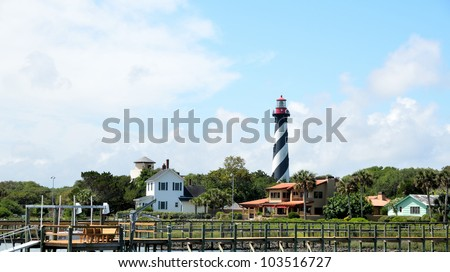 St. Augustine lighthouse in the background at St. Augustine, Florida, USA. - stock photo