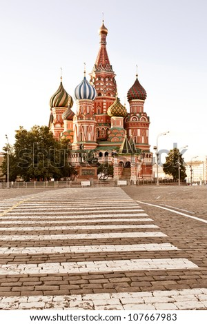 St. basil cathedral in Moscow at early morning - stock photo