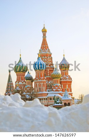 St. Basil Cathedral in winter. Red Square, Moscow, Russia. UNESCO World Heritage Site.  - stock photo