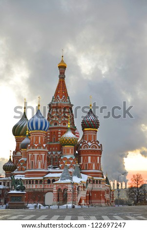 St. Basil Cathedral on Red square, (Cathedral of the Protection of the Virgin on the Ditch) in early winter morning. Moscow, Russia - stock photo