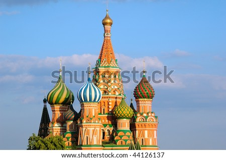 St. Basil's Cathedral, sunset - stock photo